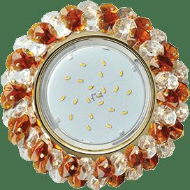 Светильник Ecola GX53 H4 Glass Круглый с хрусталиками прозрачный и янтарь/ золото 56×120