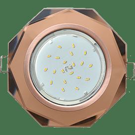 Светильник Ecola GX53 H4 Glass Стекло 8-угольник с прямыми гранями черненая медь — янтарь 38×133