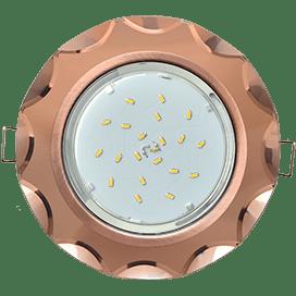 Светильник Ecola GX53 H4 Glass Стекло Круг с вогнутыми гранями черненая медь — янтарь 38×126