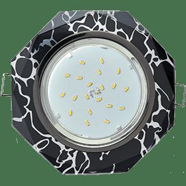 Светильник Ecola GX53 H4 Glass Стекло 8-угольник с прямыми гранями хром — хром на черном 38×133
