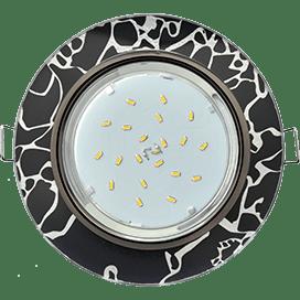 Светильник Ecola GX53 H4 Glass Стекло Круг хром — хром на черном 38×126