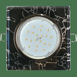 Светильник Ecola GX53 H4 Glass Стекло Квадрат скошенный край Черный хром — хром на черном 38x120x120