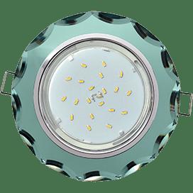 Светильник Ecola GX53 H4 Glass Стекло Круг с вогнутыми гранями хром — изумруд 38×126