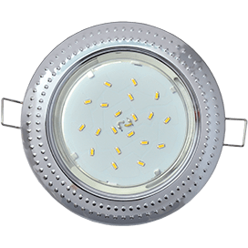 Светильник Ecola GX53 H4 встраиваемый без рефлектора «Чеканка» Хром 43×115