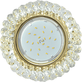 Светильник Ecola GX53 H4 Glass Круглый с хрусталиками прозрачный / Золото 56×120