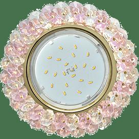 Светильник Ecola GX53 H4 Glass Круглый с хрусталиками Прозрачный и Розовый /Золото 56×120