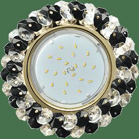 Светильник Ecola GX53 H4 Glass Круглый с хрусталиками прозрачный и черный/ золото 56×120