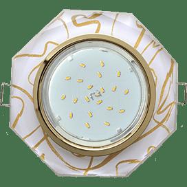Светильник Ecola GX53 H4 Glass Стекло 8-угольник с прямыми гранями золото — золото на белом 38×133