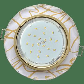 Светильник Ecola GX53 H4 Glass Стекло Круг с вогнутыми гранями золото — золото на белом 38×126