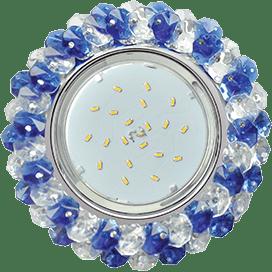 Светильник Ecola GX53 H4 Glass Круглый с хрусталиками прозрачный и голубой / Хром 56×120