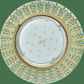 Светильник Ecola GX53 H4 Glass Круг с прозр. и бирюз. страз. (оправа золото)/ фон зерк./центр золото 40×120