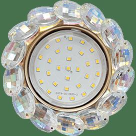Светильник Ecola GX53 H4 Glass Круглый с большими хрусталиками Прозр.искристый/Золото 56×125