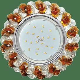 Светильник Ecola GX53 H4 Glass Круглый с хрусталиками прозрачный и янтарь/ хром 56×120