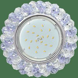 Светильник Ecola GX53 H4 Glass Круглый с хрусталиками прозрачный и аметист / Хром 56×120