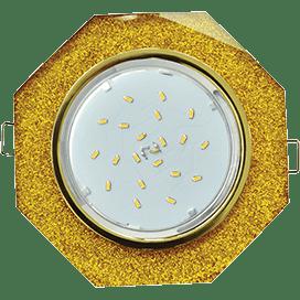 Светильник Ecola GX53 H4 Glass Стекло 8-угольник с прямыми гранями золото — золотой блеск 38×133
