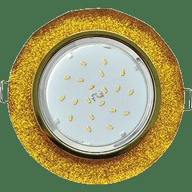 Светильник Ecola GX53 H4 Glass Стекло Круг с вогнутыми гранями золото — золотой блеск 38×126