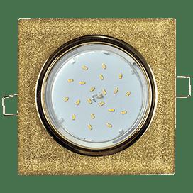 Светильник Ecola GX53 H4 Glass Стекло Квадрат скошенный край Золото — золотой блеск 38x120x120