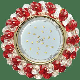 Светильник Ecola GX53 H4 Glass Круглый с хрусталиками прозрачный и рубин/ золото 56×120