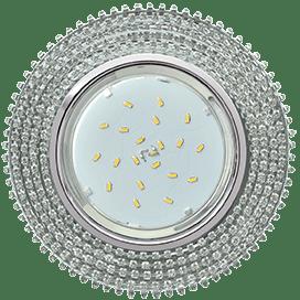 Светильник Ecola GX53 H4 Glass Круг с прозр. страз. (оправа хром)/ фон зерк./центр хром 40×120