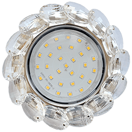 Светильник Ecola GX53 H4 Glass Круглый с большими хрусталиками Прозр. /Хром 56×125