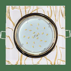 Светильник Ecola GX53 H4 Glass Стекло Квадрат скошенный край Золото — золото на белом 38x120x120