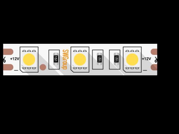 Лента светодиодная стандарт 5050, 60 LED/м, 14,4 Вт/м, 12В , IP20, Цвет: Теплый белый
