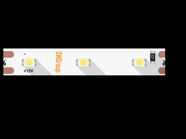 Лента светодиодная стандарт 3528, 60 LED/м, 4,8 Вт/м, 12В , IP20, Цвет: Желтый