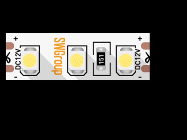 Лента светодиодная стандарт 3528, 120 LED/м, 9,6 Вт/м, 12В , IP20, Цвет: Теплый белый
