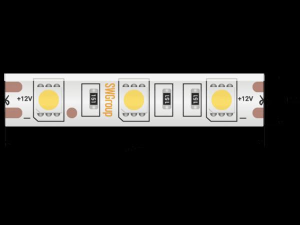 Лента светодиодная стандарт 5050, 60 LED/м, 14,4 Вт/м, 12В , IP65, Цвет: Холодный белый