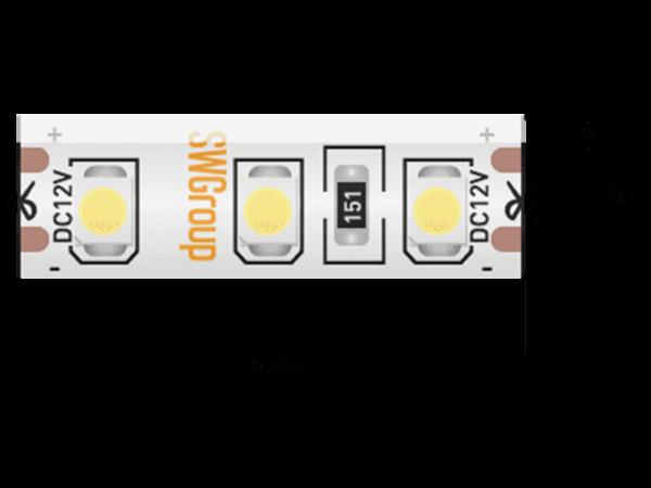 Лента светодиодная стандарт 3528, 120 LED/м, 9,6 Вт/м, 12В , IP65, Цвет: Теплый белый