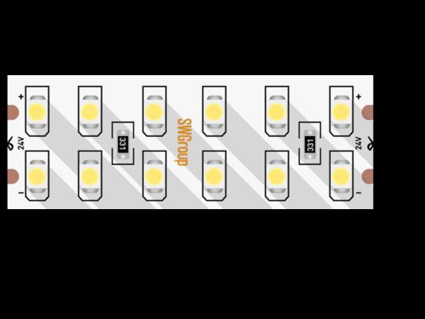 Лента светодиодная стандарт 3528, 240 LED/м, 19,2 Вт/м, 24В , IP20, Цвет: Теплый белый
