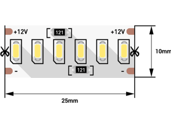 Лента светодиодная стандарт 3014, 240 LED/м, 24 Вт/м, 12В , IP20, Цвет: Холодный белый