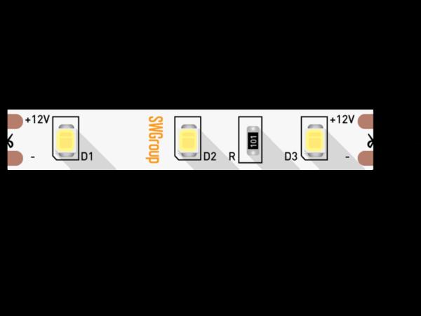 Лента светодиодная стандарт 2835, 60 LED/м, 4,8 Вт/м, 12В , IP20, Цвет: Теплый белый