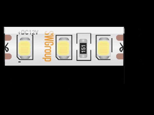 Лента светодиодная стандарт 2835, 120 LED/м, 9,6 Вт/м, 12В, IP65, Цвет: Теплый белый