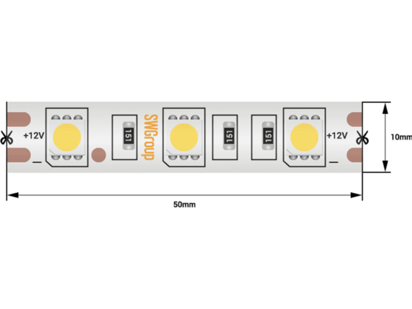 Лента светодиодная стандарт 5050, 60 LED/м, 14,4 Вт/м, 12В , IP68, Цвет: Холодный белый