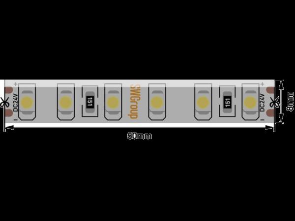 Лента светодиодная стандарт 3528, 120 LED/м, 9,6 Вт/м, 24В , IP65, Цвет: Холодный белый