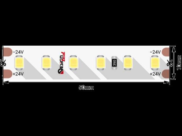 Лента светодиодная LUX, 2835, 120 LED/м, 14,4 Вт/м, 24В, IP33, Нейтральный белый (4000K)