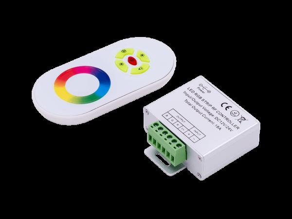 Контроллер для ленты RGB белый сенсорный, 18А, 12/24 Вольт, RF-RGB-S5-18A