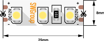 Лента светодиодная стандарт 3528, 120 LED/м, 9,6 Вт/м, 12В , IP20, Цвет: Холодный белый