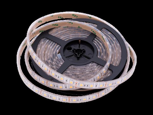 Лента светодиодная стандарт 5050, 60 LED/м, 14,4 Вт/м, 12В, IP68, Цвет: Теплый белый