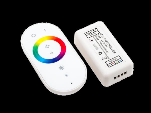 Контроллер для ленты RGB белый сенсорный 18A, 12/24 Вольт, RF-RGB-S-18A-WH2
