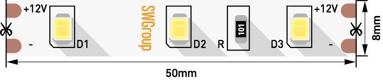 Лента светодиодная стандарт 2835, 60 LED/м, 6,3 Вт/м, 12В , IP20, Цвет: Нейтральный белый