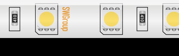 Лента светодиодная стандарт 5050, 60 LED/м, 14,4 Вт/м, 24В , IP65, Цвет: Холодный белый