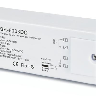 SR-8003 DC Датчик движения MicroWave. Регуллировка задержки до 10 мин и зоны до 20м. 12-36В