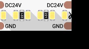 Лента светодиодная LUX, 2216, 300 LED/м, 20 Вт/м, 24В, IP33, Теплый белый (3000K)