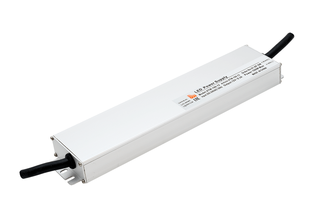 Ультратонкий блок питания в металлическом корпусе, IP67, 100W, 12V