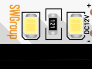 Лента светодиодная стандарт 2835, 120 LED/м, 12 Вт/м, 12В , IP20, Цвет: Нейтральный белый