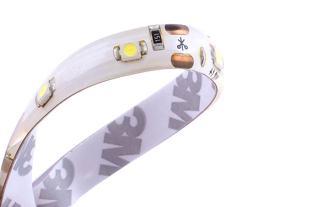 Лента светодиодная стандарт 3528, 60 LED/м, 4,8 Вт/м, 12В , IP65, Цвет: Холодный белый