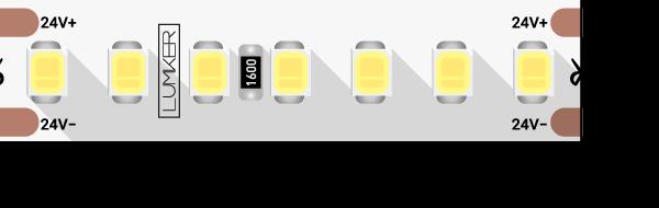 Лента светодиодная LUX, 2835, 168 LED/м, 17 Вт/м, 24В, IP33, Теплый белый (2700K)