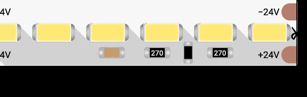 Лента светодиодная LUX, 5730, 120 LED/м, 26,8 Вт/м, 24В, IP33, Холодный белый (6000K)